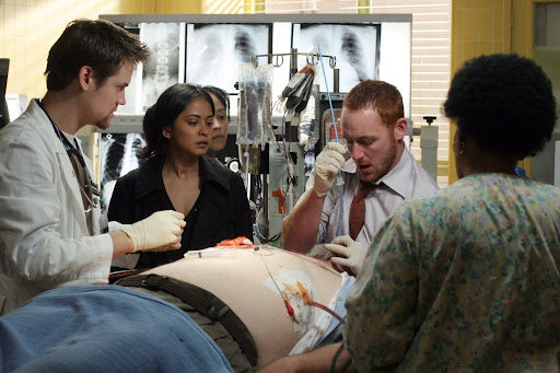 Shane West is Dr Ray Barnett, Parminder Nagra is Dr Neela Rasgotra and Scott Grimes is Dr Archie Morris [ER Season 13]